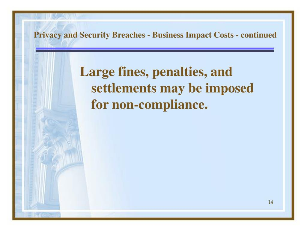 Privacy and Security Breaches - Business Impact Costs - continued