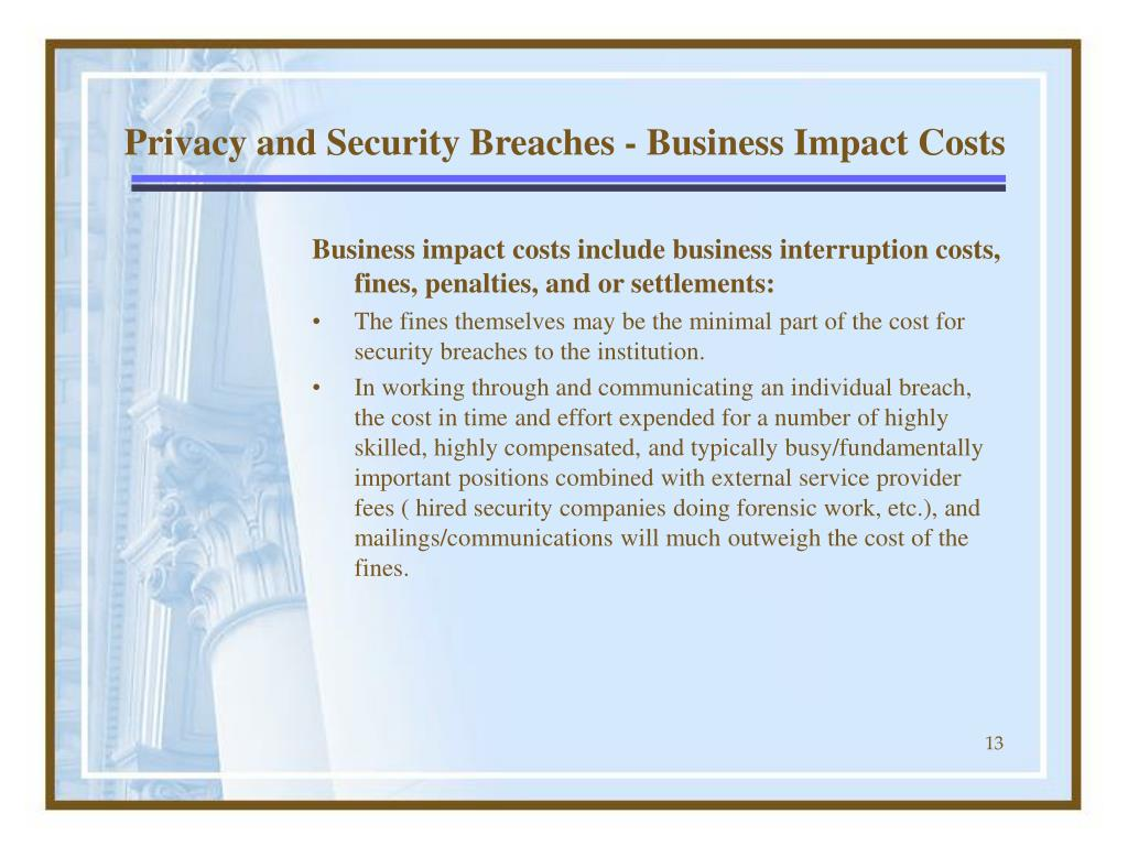 Privacy and Security Breaches - Business Impact Costs