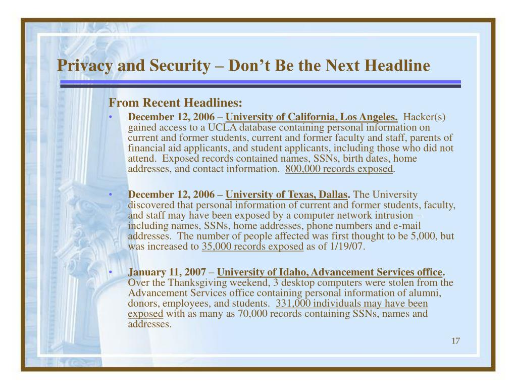 Privacy and Security – Don't Be the Next Headline