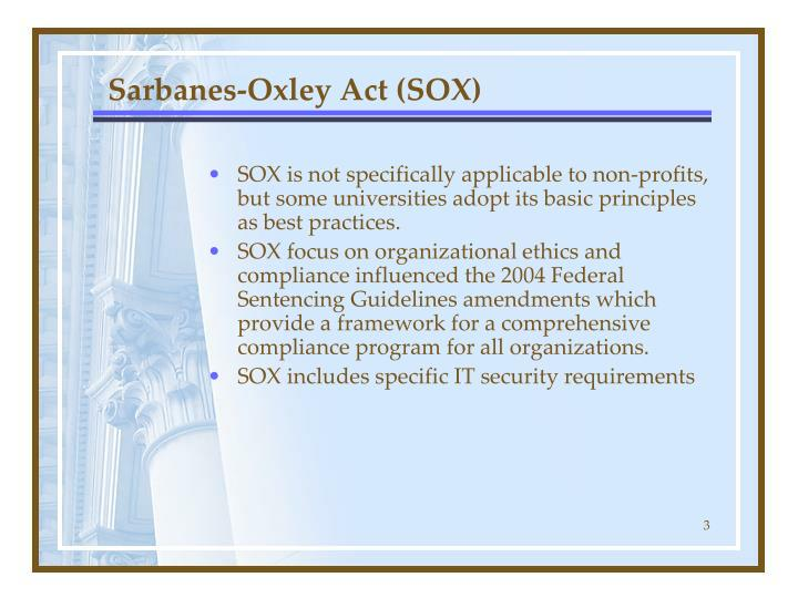 Sarbanes oxley act sox