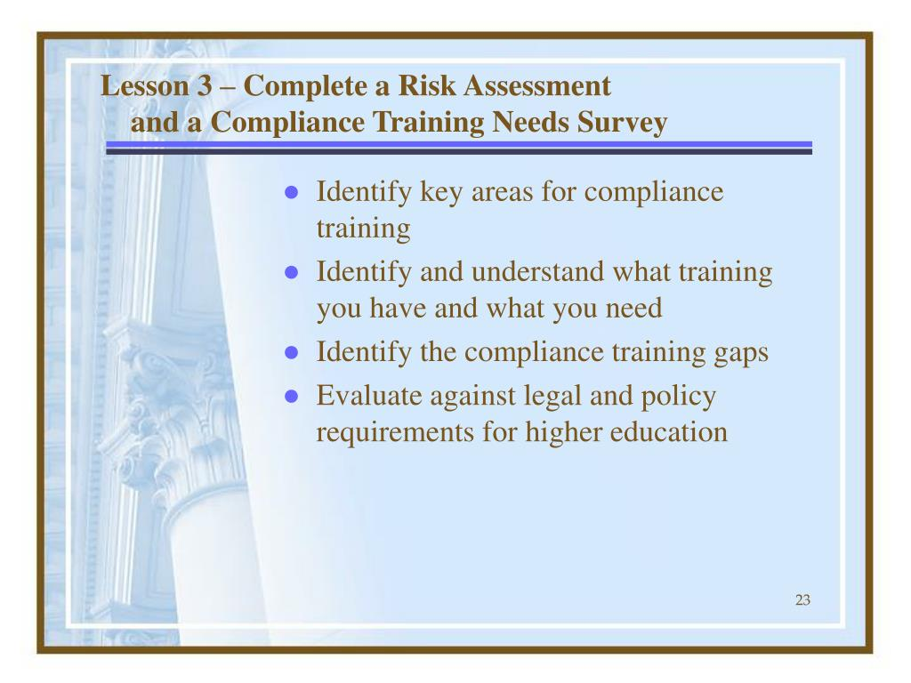 Lesson 3 – Complete a Risk Assessment