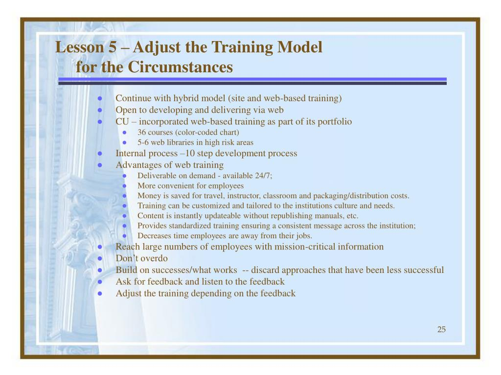 Lesson 5 – Adjust the Training Model