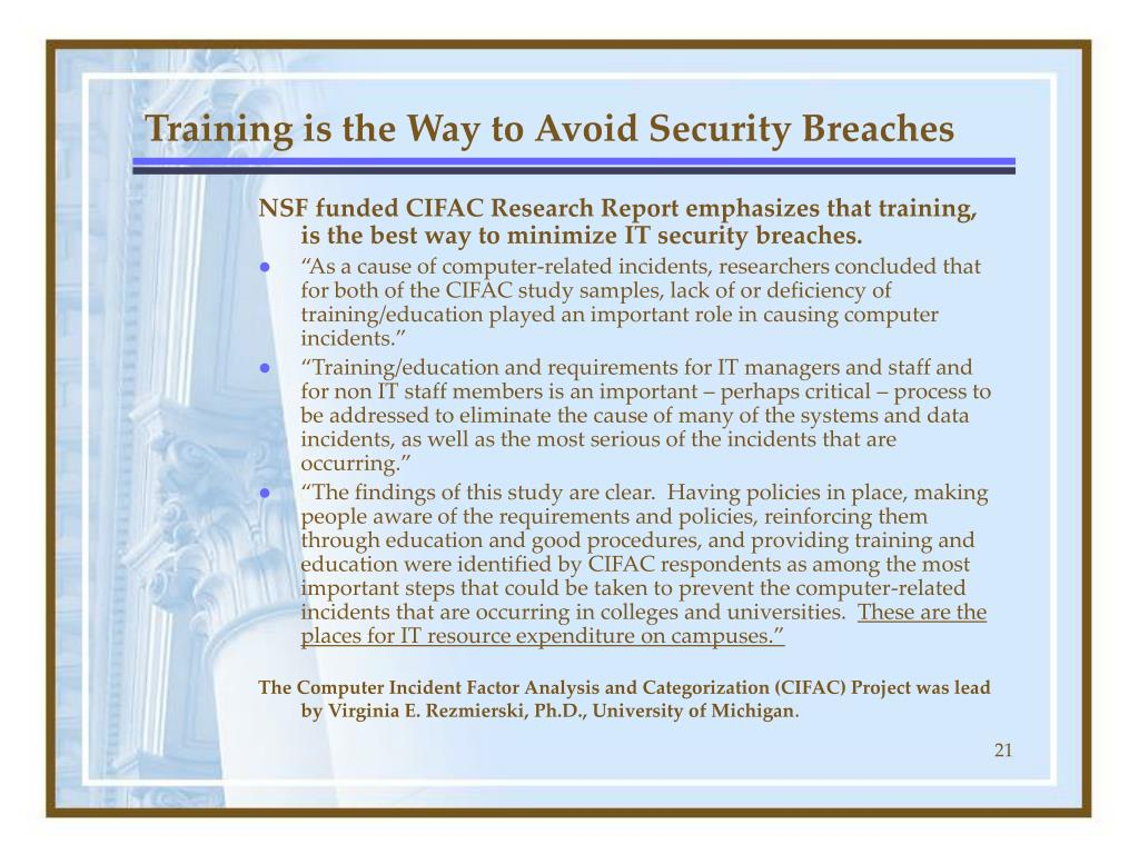 Training is the Way to Avoid Security Breaches