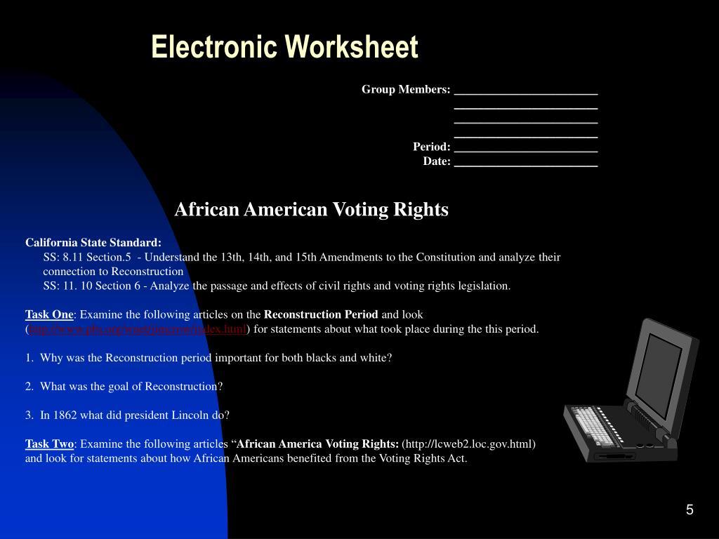 Electronic Worksheet