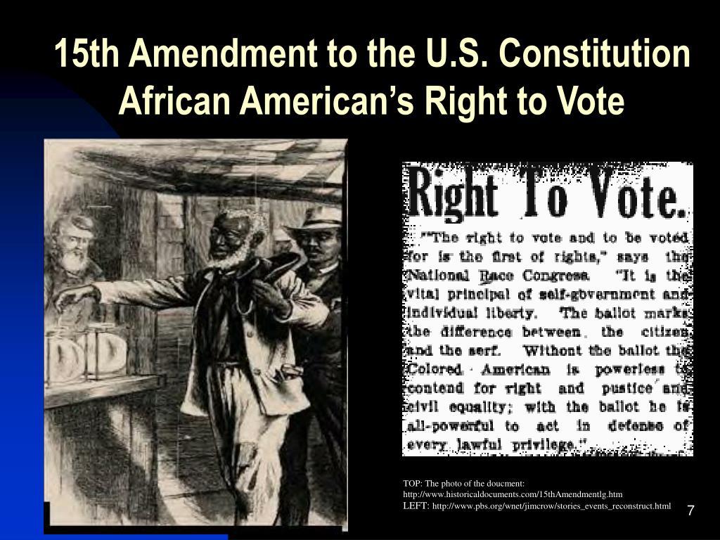 15th Amendment to the U.S. Constitution