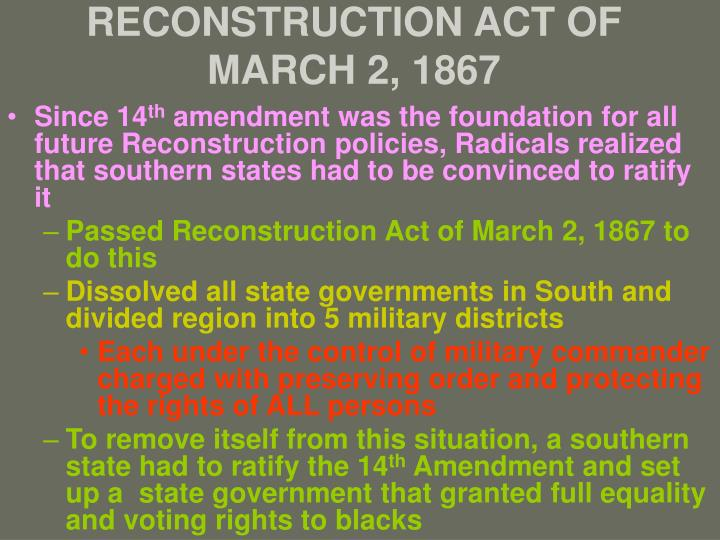 RECONSTRUCTION ACT OF MARCH 2, 1867