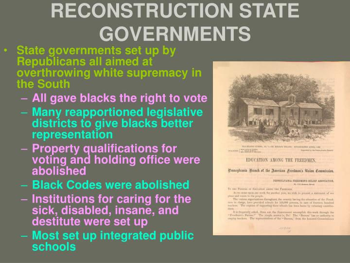 RECONSTRUCTION STATE GOVERNMENTS