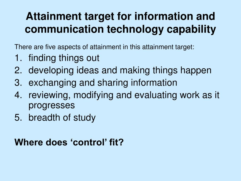 Attainment target for information and communication technology capability