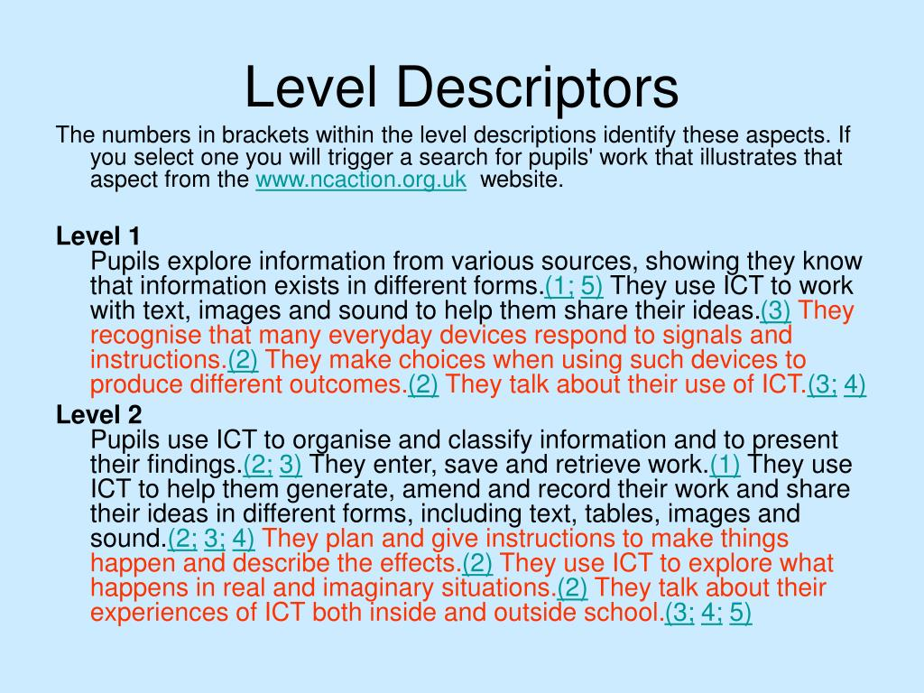 Level Descriptors