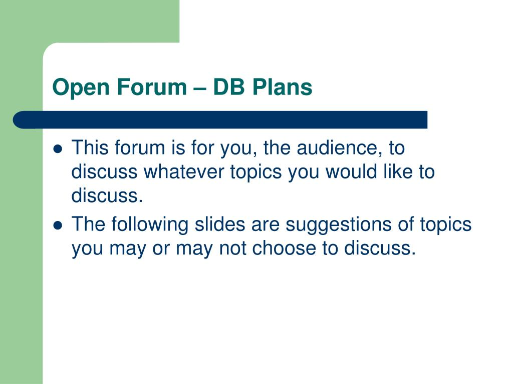 Open Forum – DB Plans