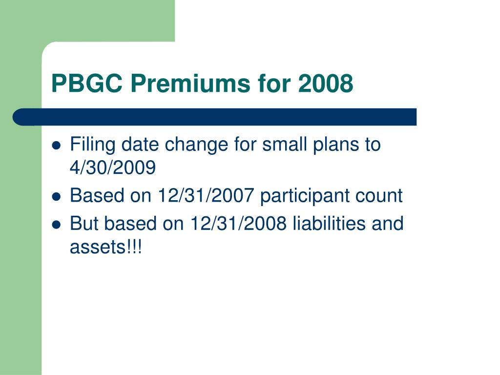 PBGC Premiums for 2008