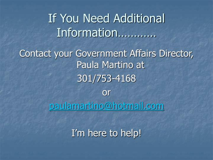 If You Need Additional Information…………