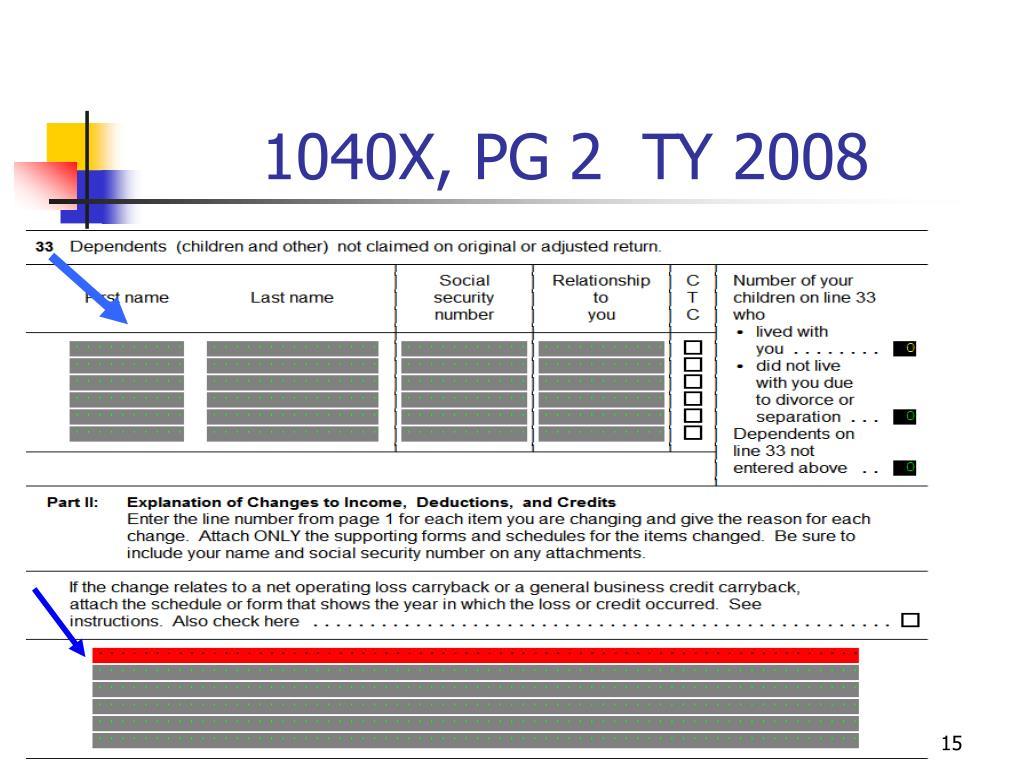 1040X, PG 2  TY 2008