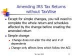 amending irs tax returns without taxwise