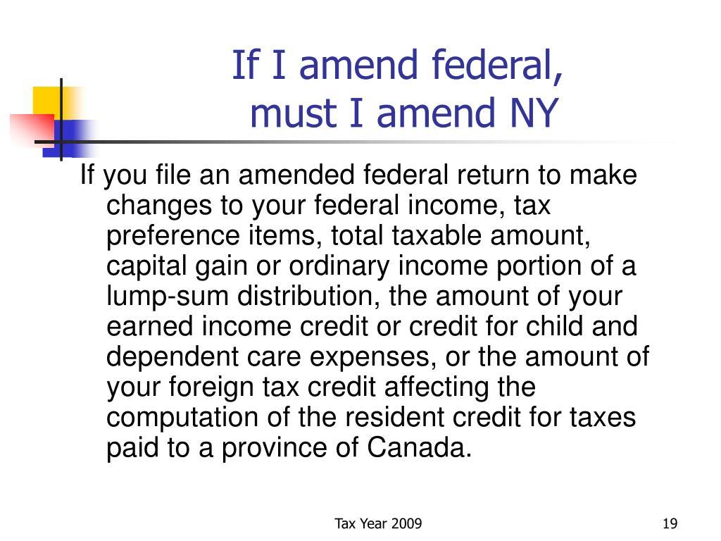 If I amend federal,
