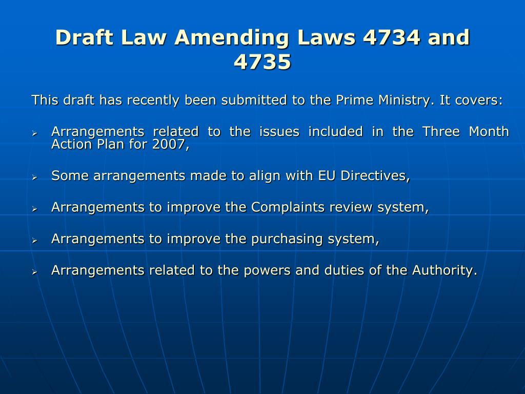 Draft Law Amending Laws 4734 and  4735