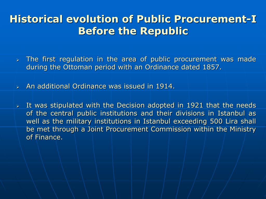 Historical evolution of Public Procurement-I