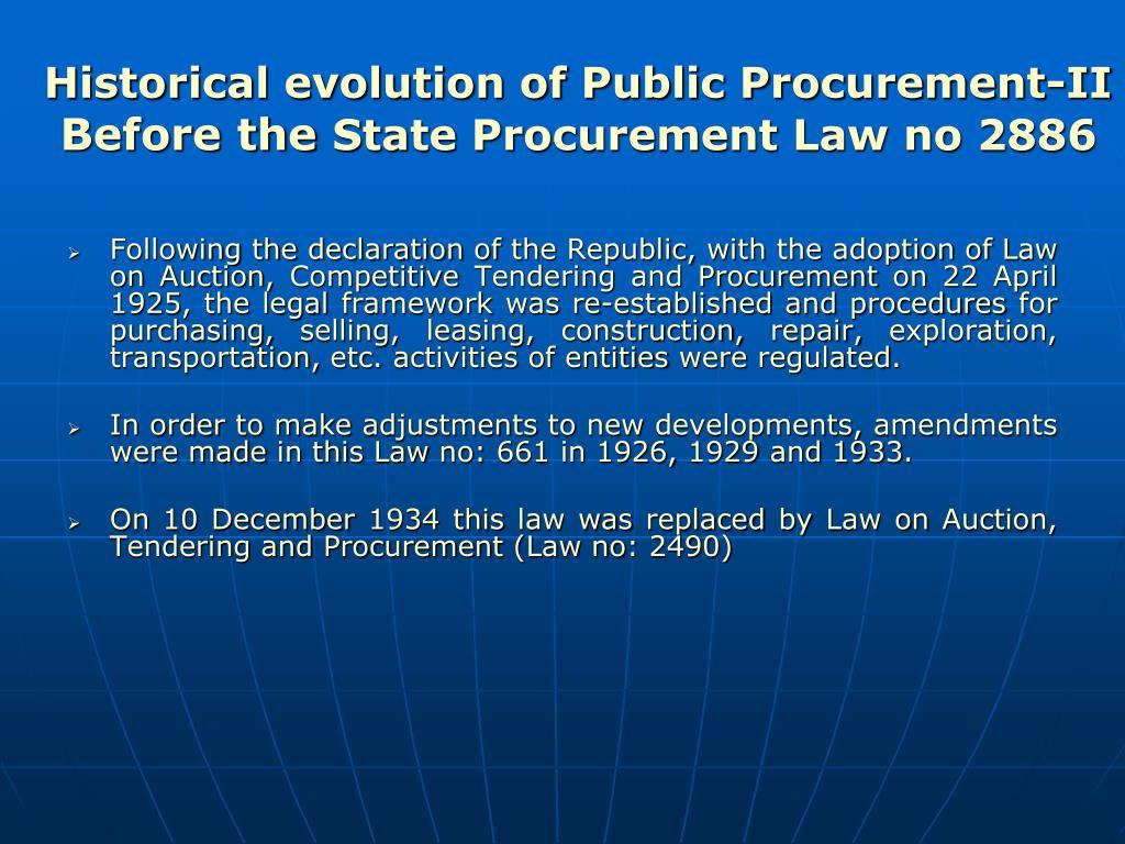 Historical evolution of Public Procurement-II