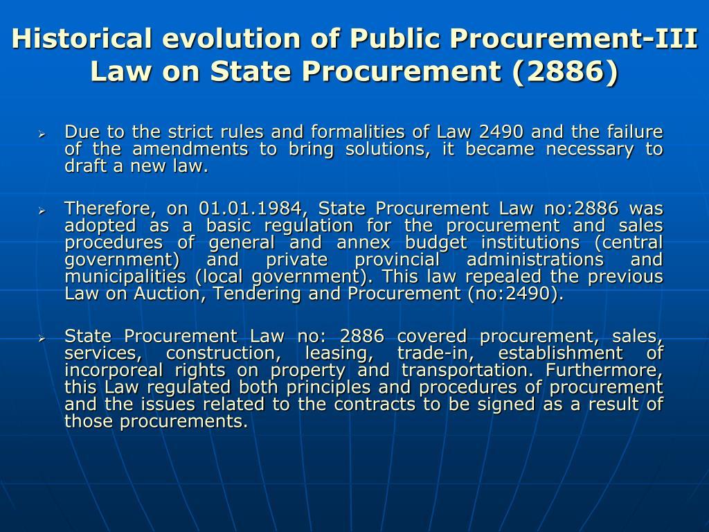 Historical evolution of Public Procurement-III