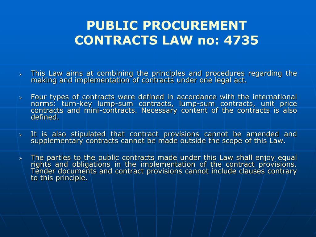 PUBLIC PROCUREMENT CONTRACTS LAW no: 4735