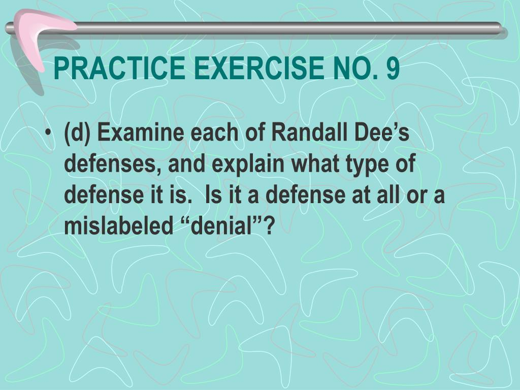 PRACTICE EXERCISE NO. 9