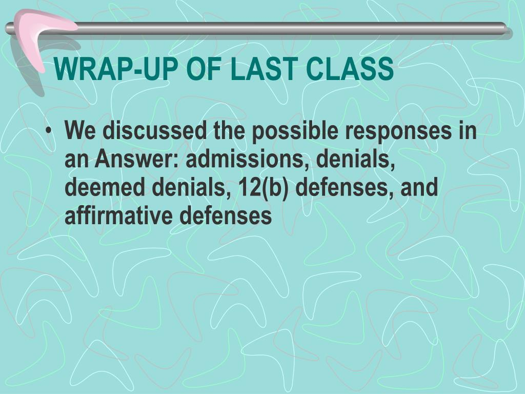 WRAP-UP OF LAST CLASS