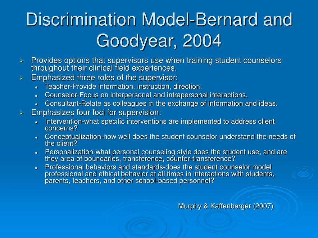 Discrimination Model-Bernard and Goodyear, 2004