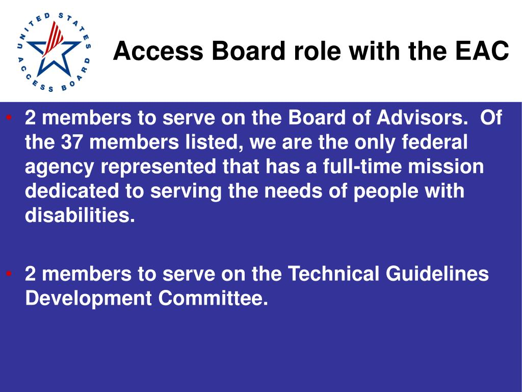 Access Board role with the EAC