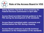 role of the access board in vss