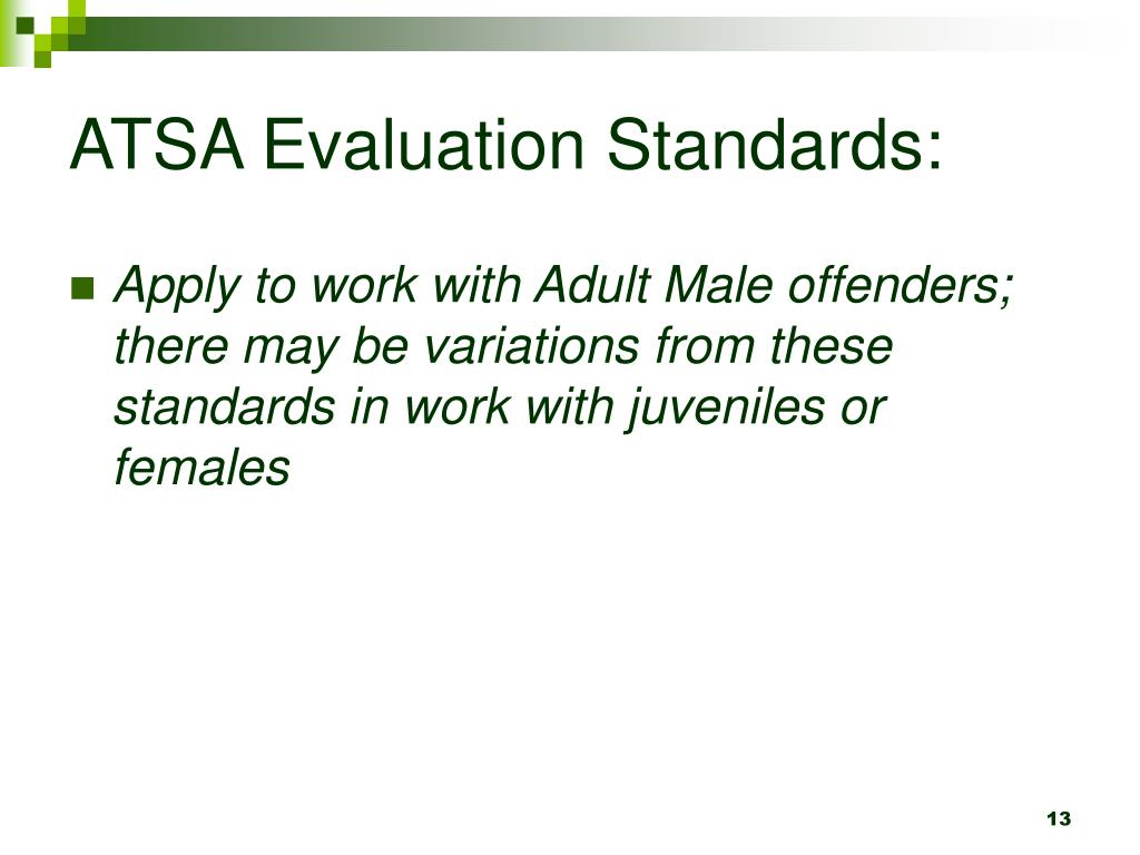 ATSA Evaluation Standards:
