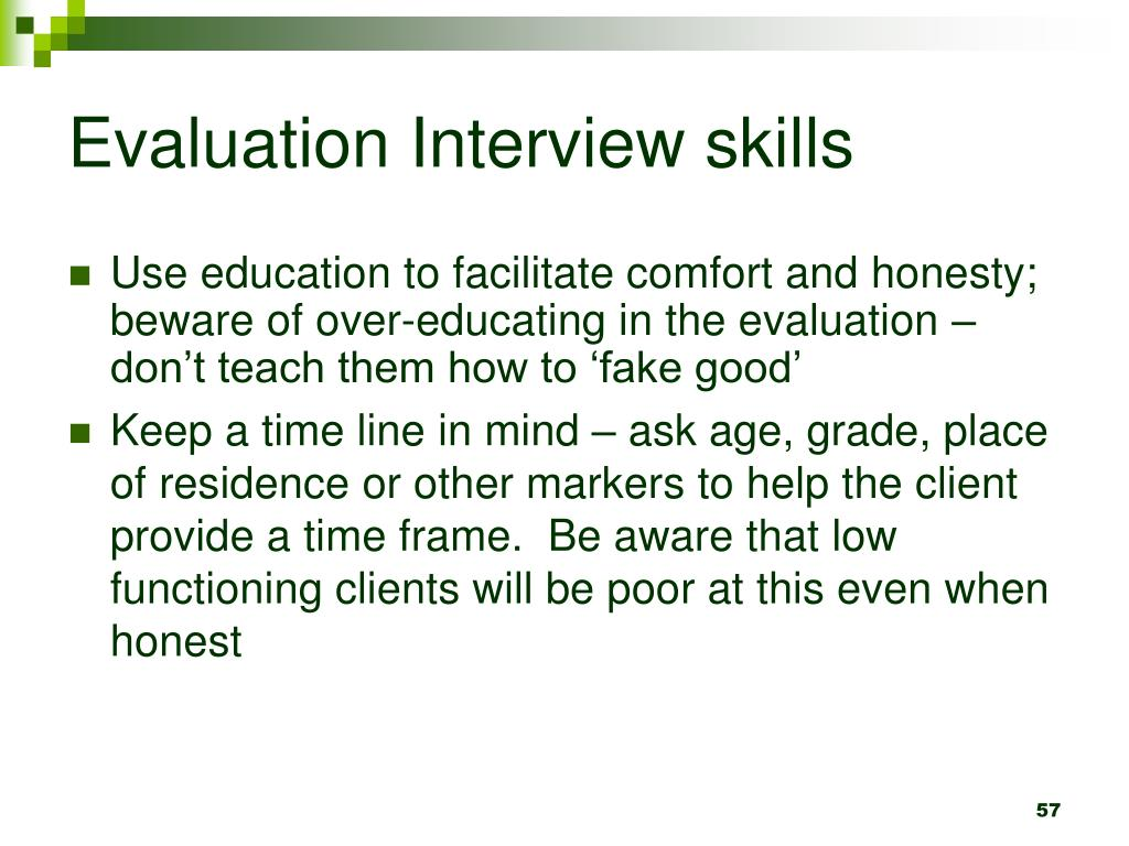 Evaluation Interview skills
