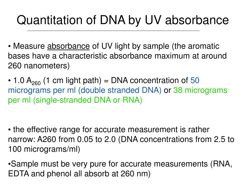 Quantitation of DNA by UV absorbance