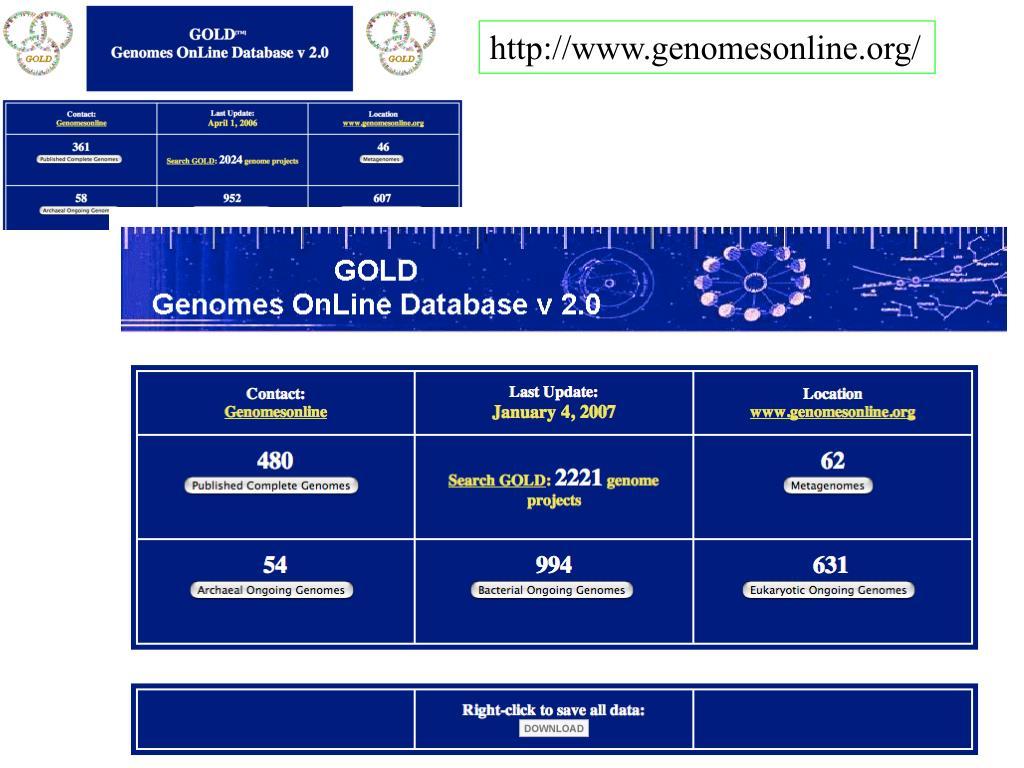 http://www.genomesonline.org/