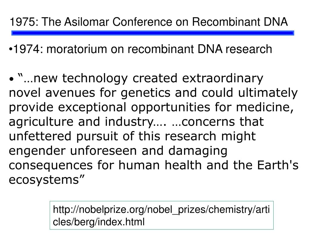 1975: The Asilomar Conference on Recombinant DNA