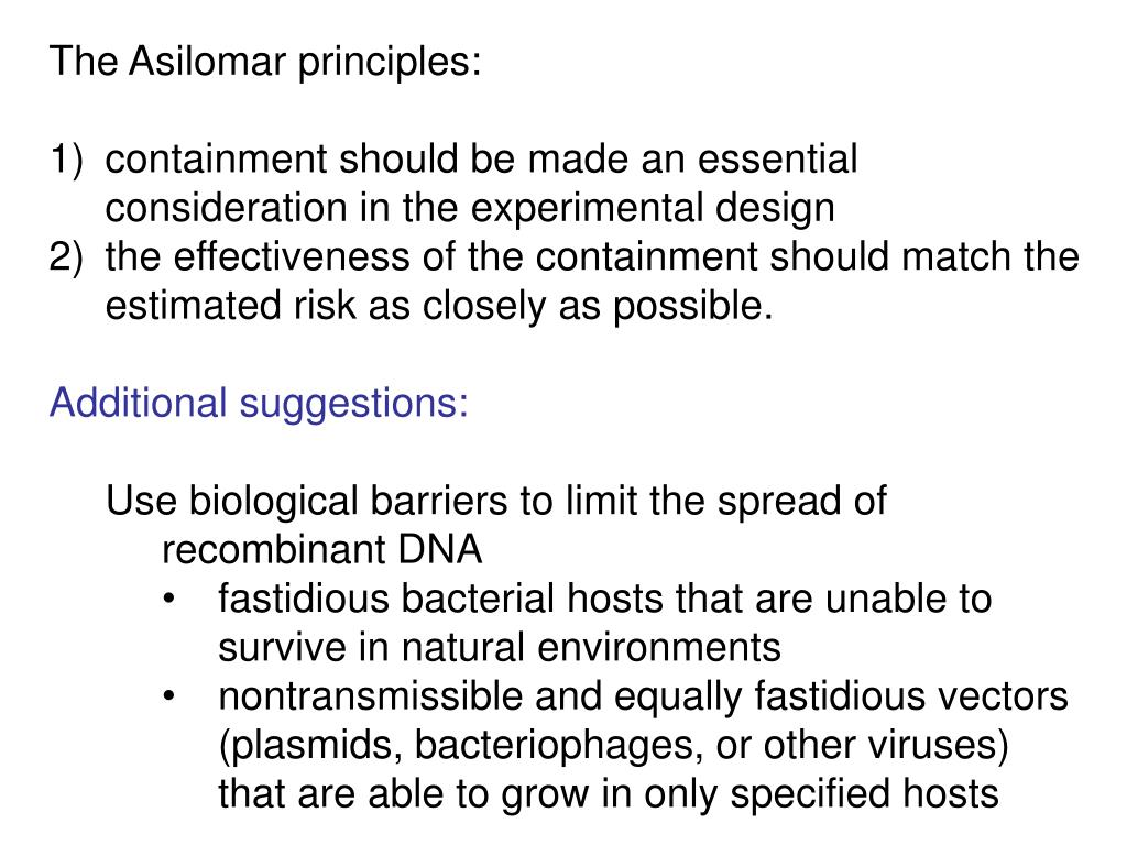 The Asilomar principles: