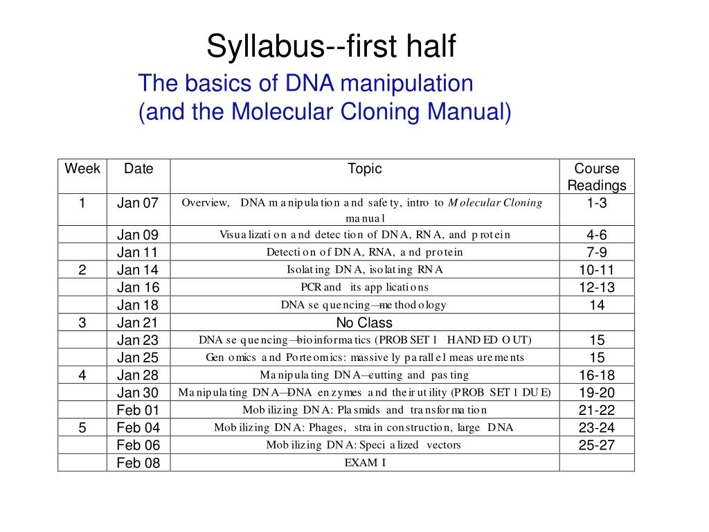 Syllabus--first half