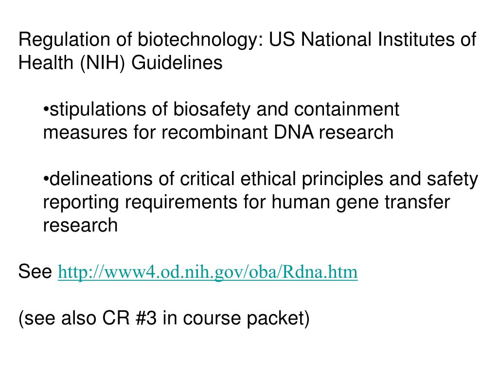 Regulation of biotechnology: US National Institutes of Health (NIH) Guidelines