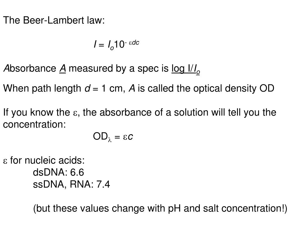 The Beer-Lambert law: