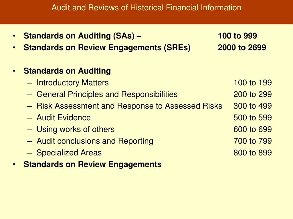 Audit and Reviews of Historical Financial Information