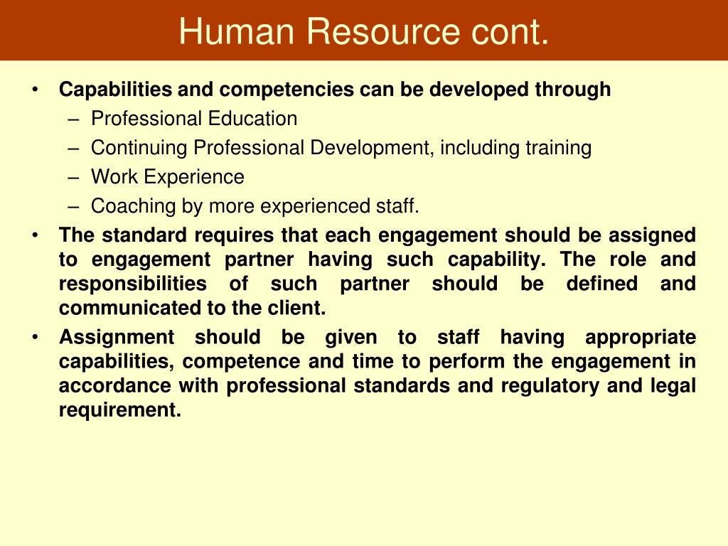 Human Resource cont.