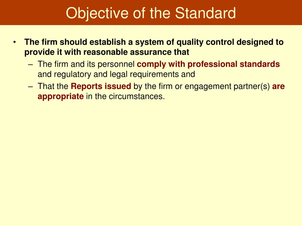 Objective of the Standard