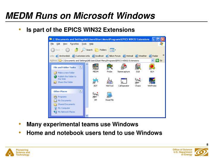 MEDM Runs on Microsoft Windows