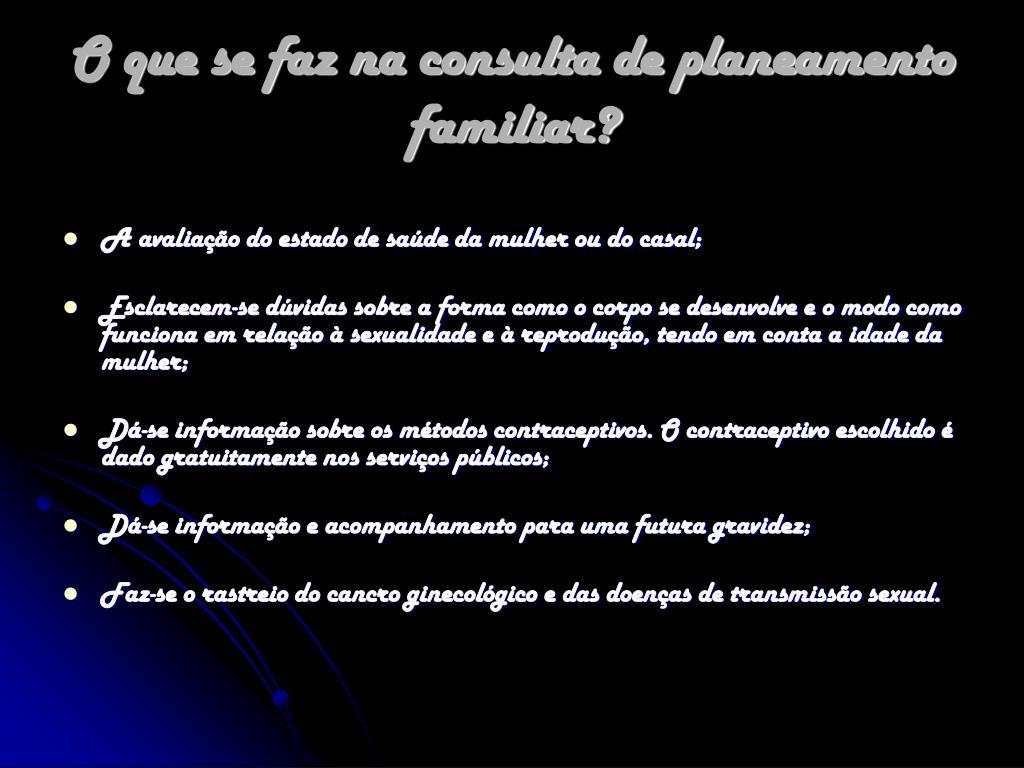 O que se faz na consulta de planeamento familiar?