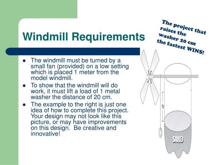 Windmill Requirements