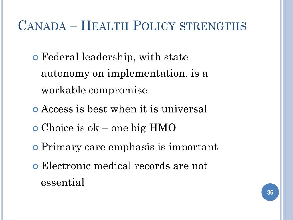 Canada – Health Policy strengths