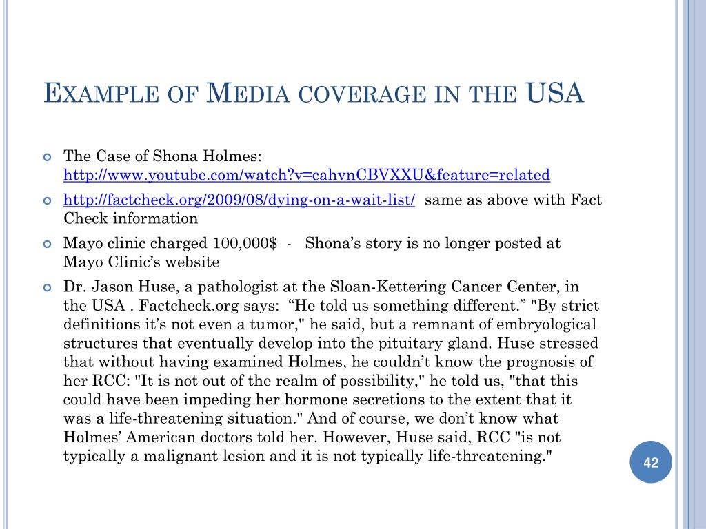 Example of Media coverage in the USA