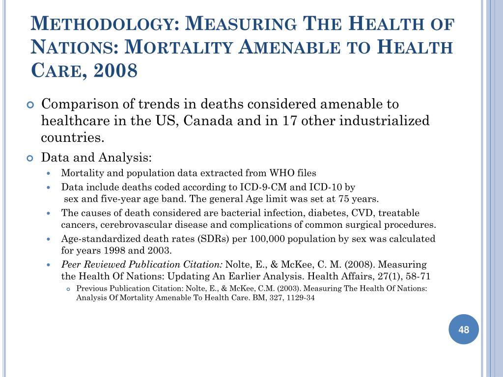 Methodology: Measuring The Health of Nations: Mortality Amenable to Health Care, 2008