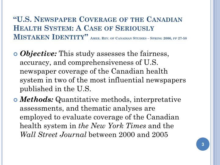 """U.S. Newspaper Coverage of the Canadian Health System: A Case of Seriously Mistaken Identity"""