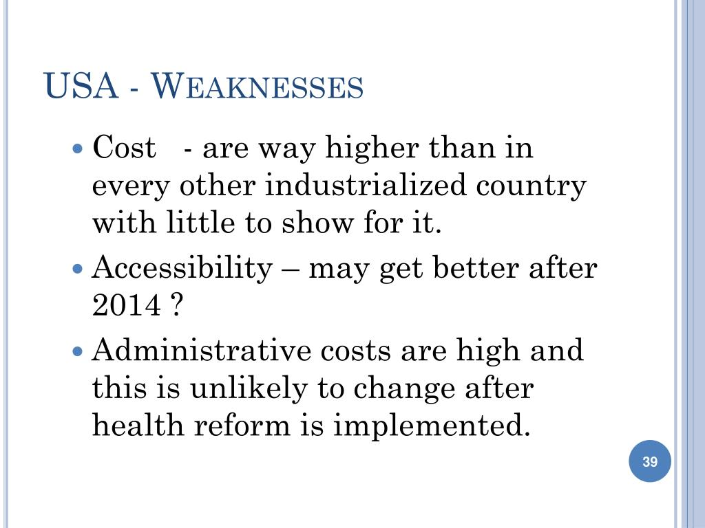 USA - Weaknesses