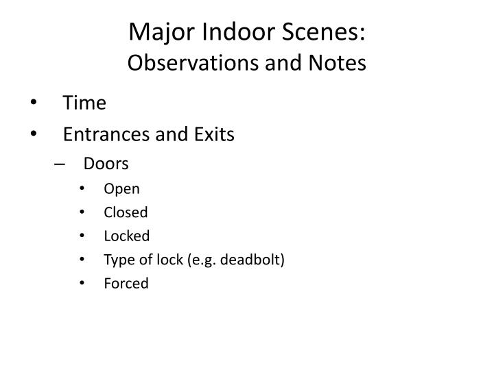 Major Indoor Scenes: